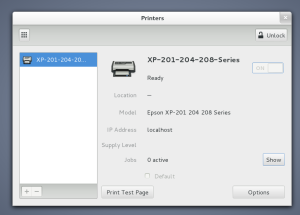 gnome printers window